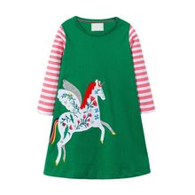 Girl Summer Dress Long Sleeve Cotton Casual Dresses Kids Clothing Floral Party Princess Dress Girls Party Carton Unicorn Dress цены