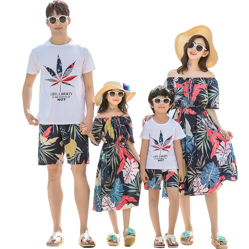 Summer Family matching outfits mother daughter dresses father son cotton Tops+shorts sets family look Blue leaf