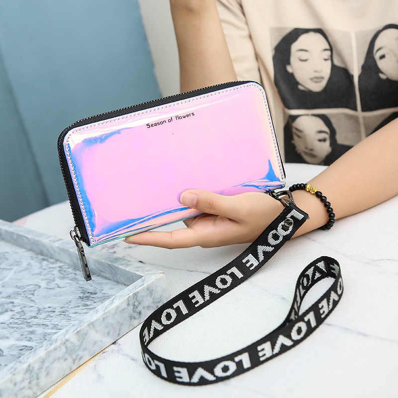 Neue Lanyard Laser Holographische Brieftasche Frauen Lange Geldbörse Weiblichen Handtasche Frauen Brieftaschen Geldbörsen Portfel Zip Phone Tasche Carteras