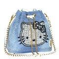 2017 Cubo de la Moda Bolsa de Mezclilla de Alta Calidad Bolsos de Hombro Del gatito hola Bolso de Las Mujeres de lujo de Diamantes mujeres de los bolsos diseñador