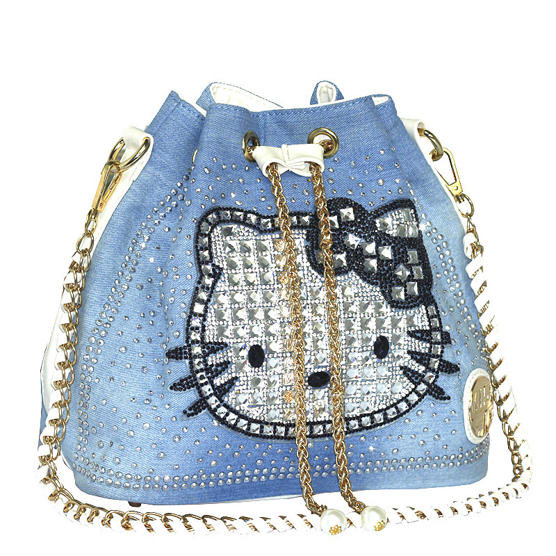 2017 Fashion Bucket Denim Bag High Quality Handbags kitty Shoulder Bag Diamonds
