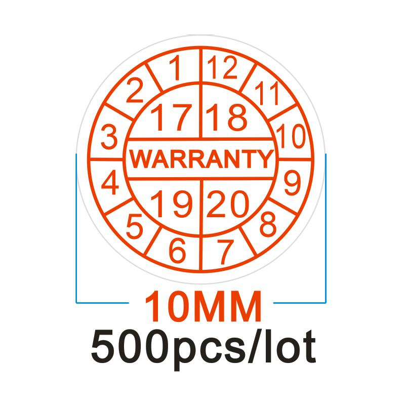 Diameter 10 mm Warranty sealing label sticker void if damaged, Universal with years and months, Free shipping for 500pcs/lot fragile warranty sticker shall be null and void the warranty and black and red round 0 25 cm vulnerable if mobile