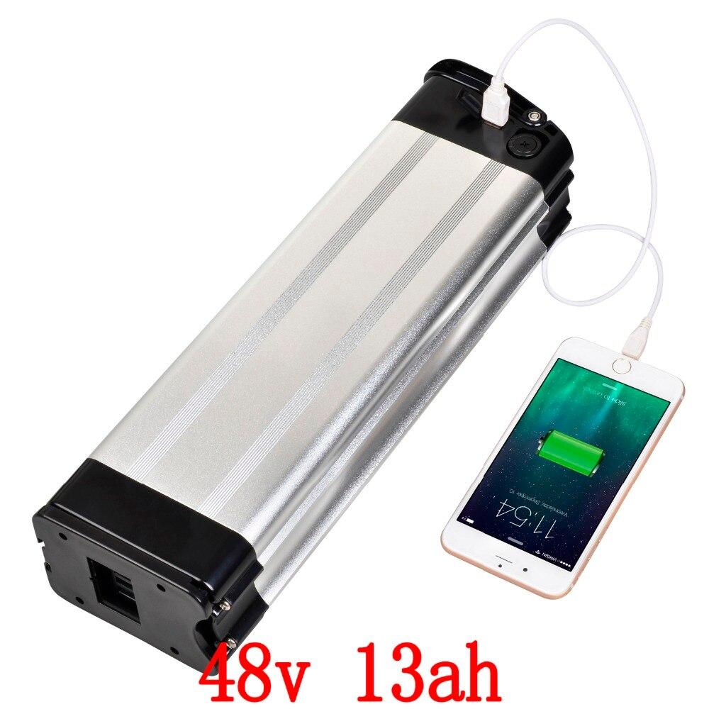 UE STATI UNITI NO Tax 48 v 13ah batteria agli ioni di litio 48 v 1000 w batteria con connettore USB di scarico di fondo 54.6 v 2A Caricatore