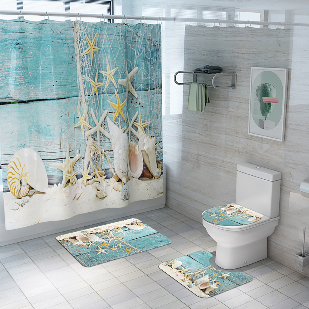 4PCS Non Slip Toilet Polyester Cover Mat Set absorption Shower Bath Curtain Toilet WC Rugs Shower Room Accessories 2019 New