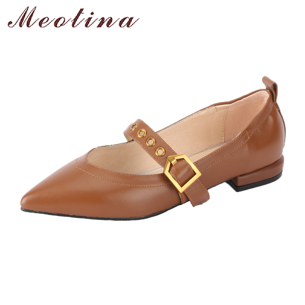 Meotina Genuine Leather Shoes Women Mary Jane Shoes Buckle Strap Pointed Toe Flats Shoes Spring 2018 Brown Flats Lady Size 34-39 meotina women flat shoes ankle strap flats pointed toe ballet shoes two piece ladies flats beading causal shoes beige size 34 43