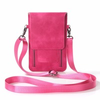 Universal PU Leather Cell Phone Bag Shoulder Pocket Wallet Pouch Case Neck Strap For Samsung/iPhone/Huawei/LG