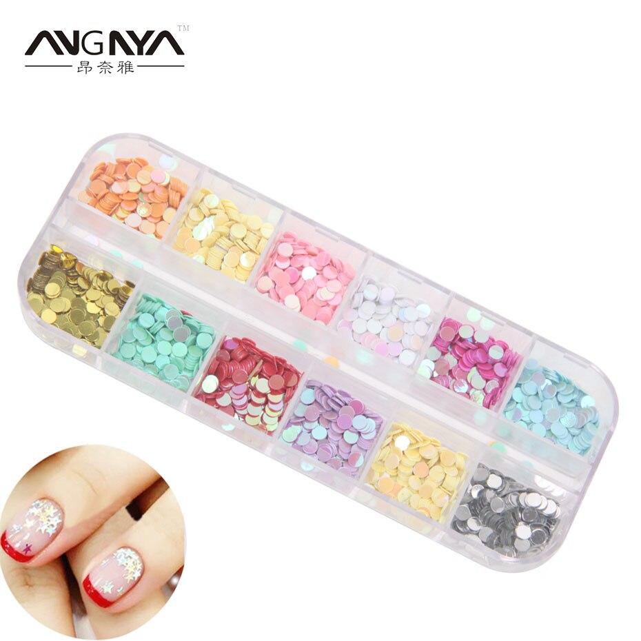 ANGNYA 12 Colors 1 Box Nail Glitter Acrylic 3D Round Glitter Shape ...