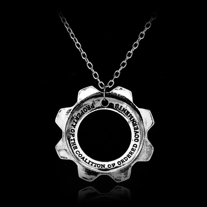2017 New Arrival Game Gears of War Jewelry Pendant Gearwheel Necklace Alloy Metal Sliver Choker Trinket Women Mens Jewelry