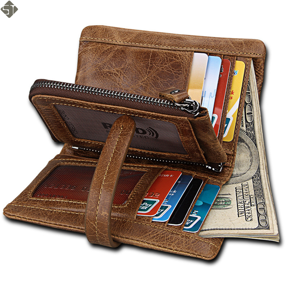 FUSHAN Genuine Leather Men Wallet Small Men Walet Zipper&Hasp Male Portomonee Short Coin Purse Brand Perse Carteira For Rfid