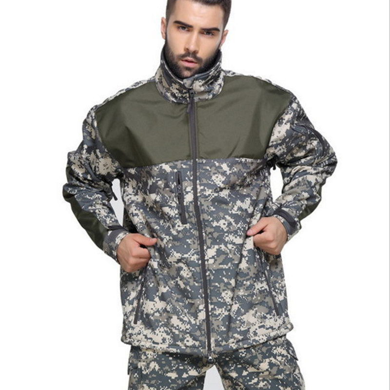 US army Military Men Waterproof camo Tactical Hunting Camping Jacket Fleece Thermal Tad Coat Outerwear warm