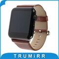 Correa de piel genuina hebilla pulida para iwatch apple watch 38mm 42mm correa de la venda de pulsera con adaptador de enlace negro marrón rojo