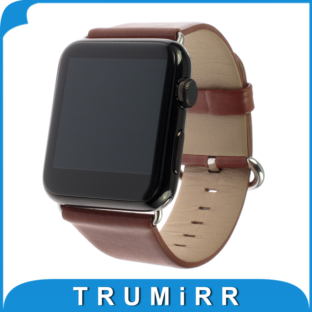 Genuine Leather Watchband Polished Buckle for iWatch Apple Watch 38mm 42mm Band Strap Bracelet with Link Adapter Black Brown Red 6 colors luxury genuine leather watchband for apple watch sport iwatch 38mm 42mm watch wrist strap bracelect replacement