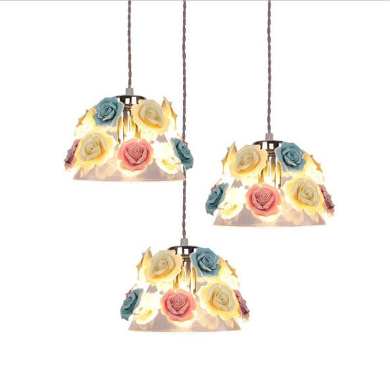 Modern Romantic Fashion Ceramic Flowers Glass e27 Pendant Light for Dining Room Living Room Bar 1/3 Heads Suspension Lamp 2234 подушки classic by t подушка жемчуг 70х70