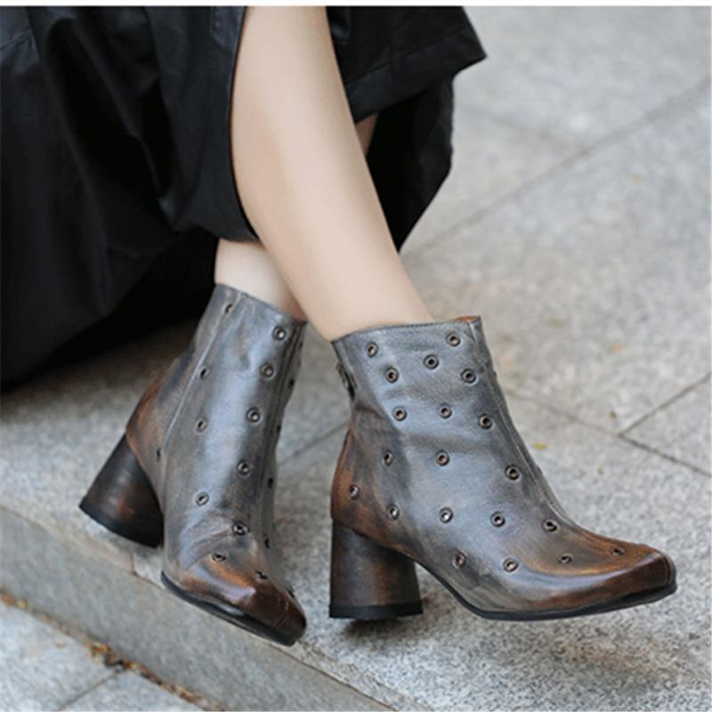Women Genuine Leather Martin Boots Gray High Heels Autumn 2019 Rivet Ankle Boot Women Handmade Leather