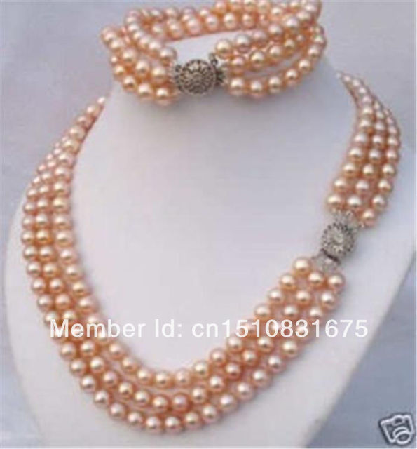 3 Rows 7-8mm Pink Akoya Pearl Necklace Bracele18'txu54