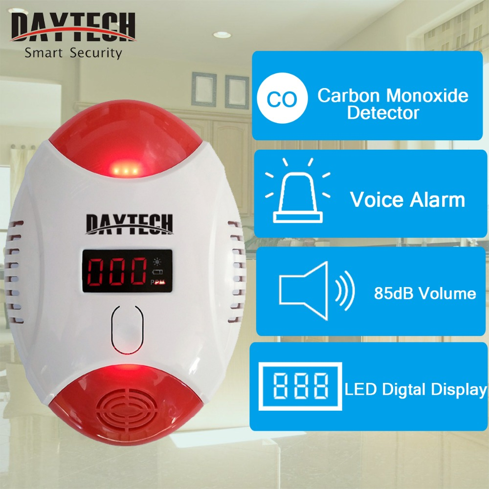 DAYTECH Wireless Carbon Monoxide Detector Alarm Detector CO Gas Carbon Alert Sensor LED Digital Display Battery Operation CO-02 golden security lpg detector wireless digital led display combustible gas detector for home alarm system