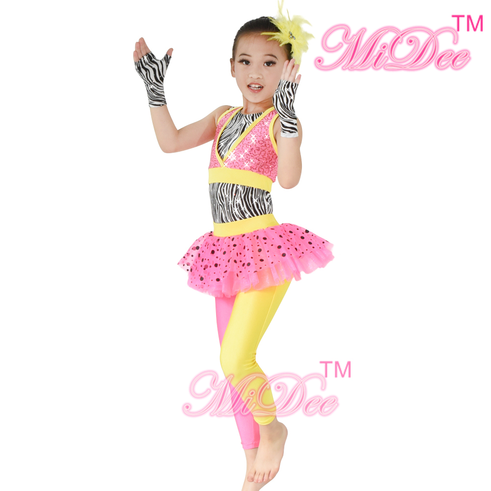MiDee Jazz Dance antrekk Leotards Ballet Black Dots Skirt-Tights Zebra Leotard