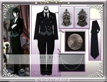Anime Black Butler Sebastian Michaelis Cosplay Costume Black Uniform Outfit+Pocket Watch+Brooch Halloween Costumes for Women/Men 2