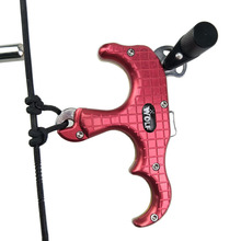 Wholesale prices 3 Finger Archery Compound Bow Release Brass 7075 Alloy Aluminum Automatic Thumb Grip Caliper Release Aids Fit Left Right Hand