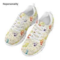 1229e276cb3 Nopersonality Classic Music Notes Printed Mesh Shoes Spring Autumn Flats  Round Toe Women Lace Up Sneakers