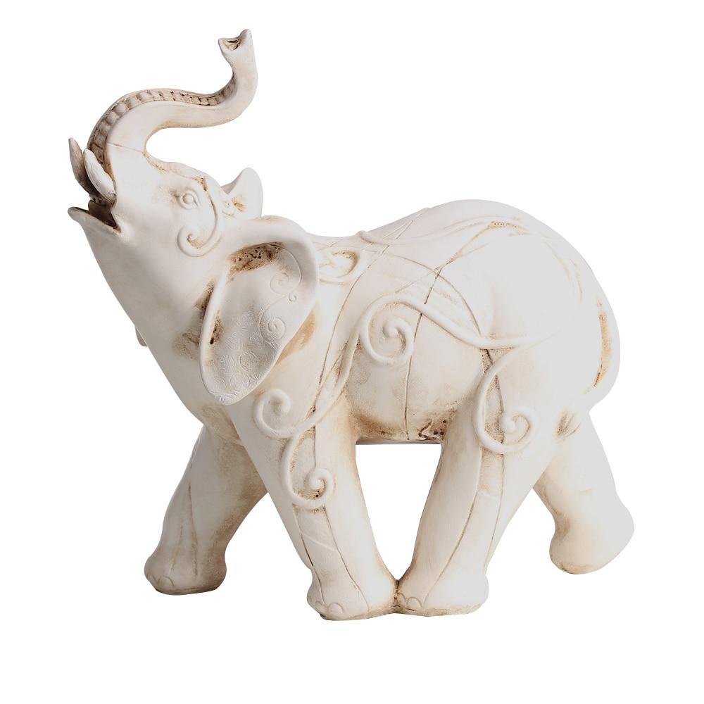 P Flame Elephant Sculpture Resin Crafts Figurine Home