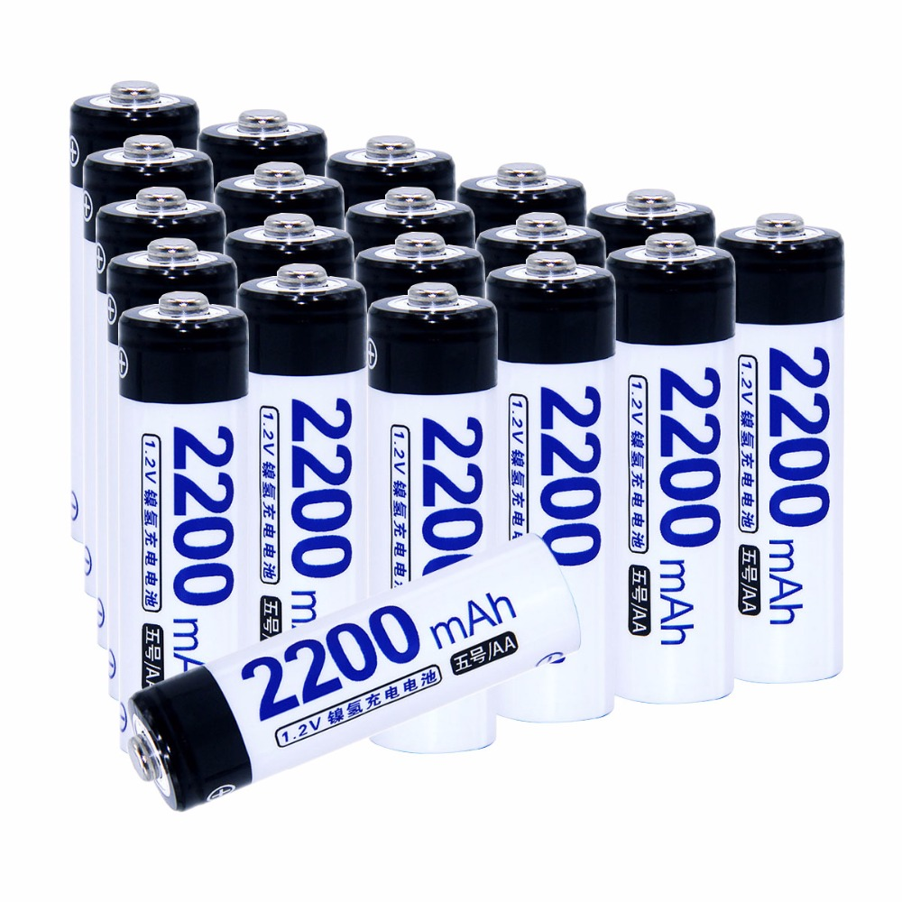 Real capacity! 20 pcs AA 2200mah 1.2V NIMH AA rechargeable batteries for camera razor toy remote control flashlight 2A