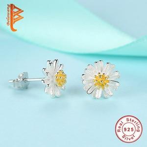 Image 4 - BELAWANG juegos de joyas de 100% Plata de Ley 925 auténtica para mujer y niña, flor de Margarita, esmalte blanco, conjuntos de joyas de compromiso para boda