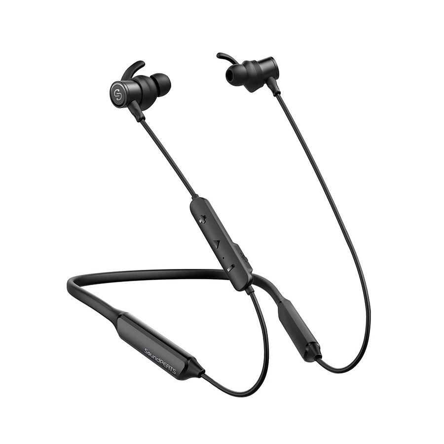 SoundPEATS Bluetooth écouteurs sans fil Bluetooth écouteurs avec micro intégré stéréo basses intra-auriculaires magnétiques écouteurs tour de cou casque