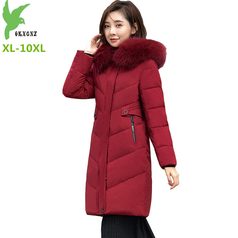 Down   Jacket Women Winter Parkas 2019 Plus size XL-10XL Thick White duck   down     Coat   Fur collar Hooded Long   Down     Coats   Female H649