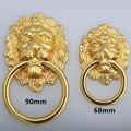 Lenth 90mm grande lionhead estilo vintage alças gaveta do armário puxa maçanetas de ouro 32mm ouro almôndega grande porta do armário botão do punho