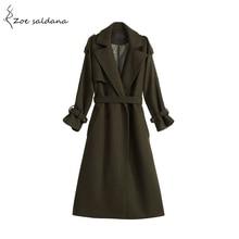 Zoe Saldana 2019 New European Fashion Winter Coat Women Wool Coat Turn-down Collar Epaulet Trench Oversize Warm Women Coat