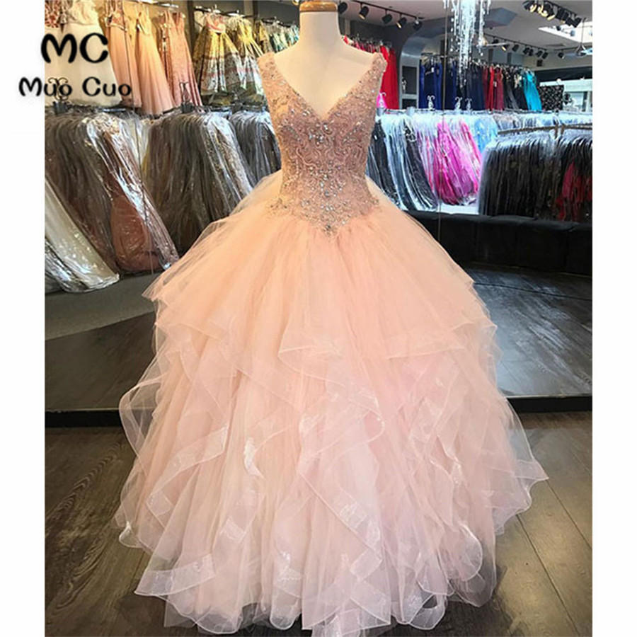 Blush Pink 2018 Ball Gown Prom Dresses Long V-Neck Organza Crystals ...