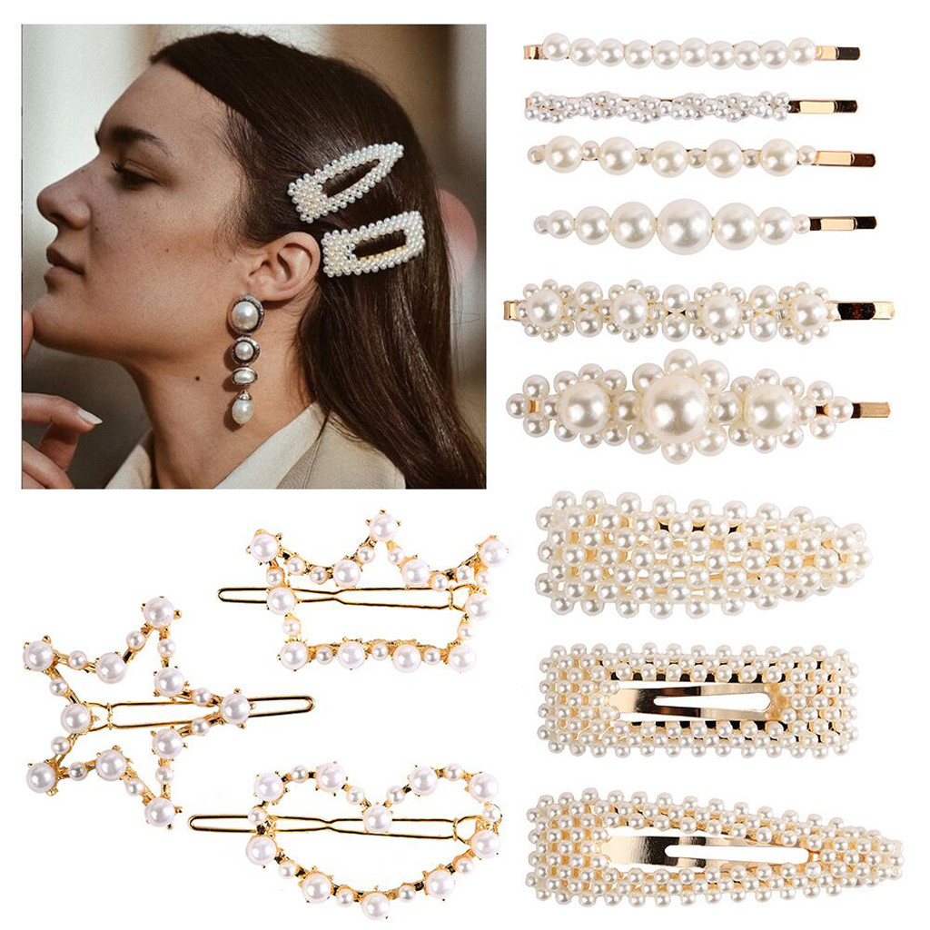 Buy 2pcs/Set Women Pearl Hair Clip Popular Korean Jewelry Hairpin Elegant Snap Stick Hairpin Hair Accessories Hairgrips #YJ for only 1.64 USD