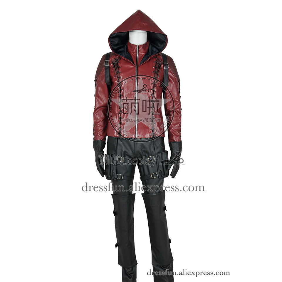 Green Arrow Season 3 Cosplay Red Arrow Roy Harper Costume Fashion Outfits Full Set Uniform Red Jacket Fast Shipping