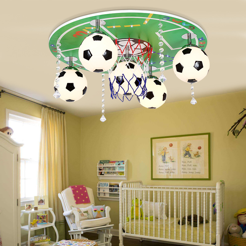 Modern Fashion Cartoon Children Bedroom Ceiling Lamp Creative Study Light Personality Football Decoration Lamp Free Shipping loft style 3 4 5 6 lights ceiling lamp vintage personality modern home decoration lights bedroom light free shipping