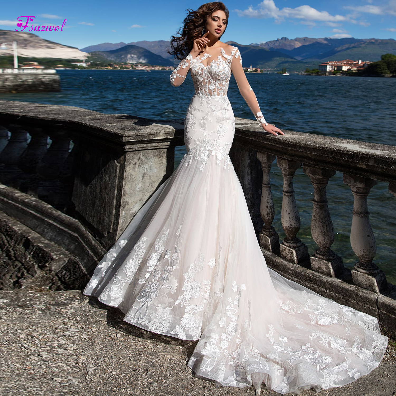 Fsuzwel Gorgeous Appliques Mermaid Wedding Dress 2019 Sexy Scoop Neck Long Sleeve Trumpet Bridal Gown Vestido