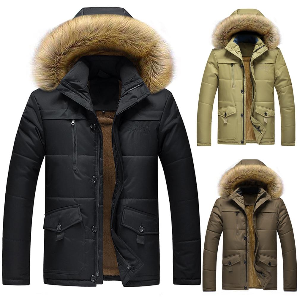 Longueur Casual 8l Outwear Épaissie À Plus Zipper kaki Moyen 3l45 marron Hiver Capuche Taille Manteau Hommes Vêtements L Coton Noir De Sunfree qTxYE4E