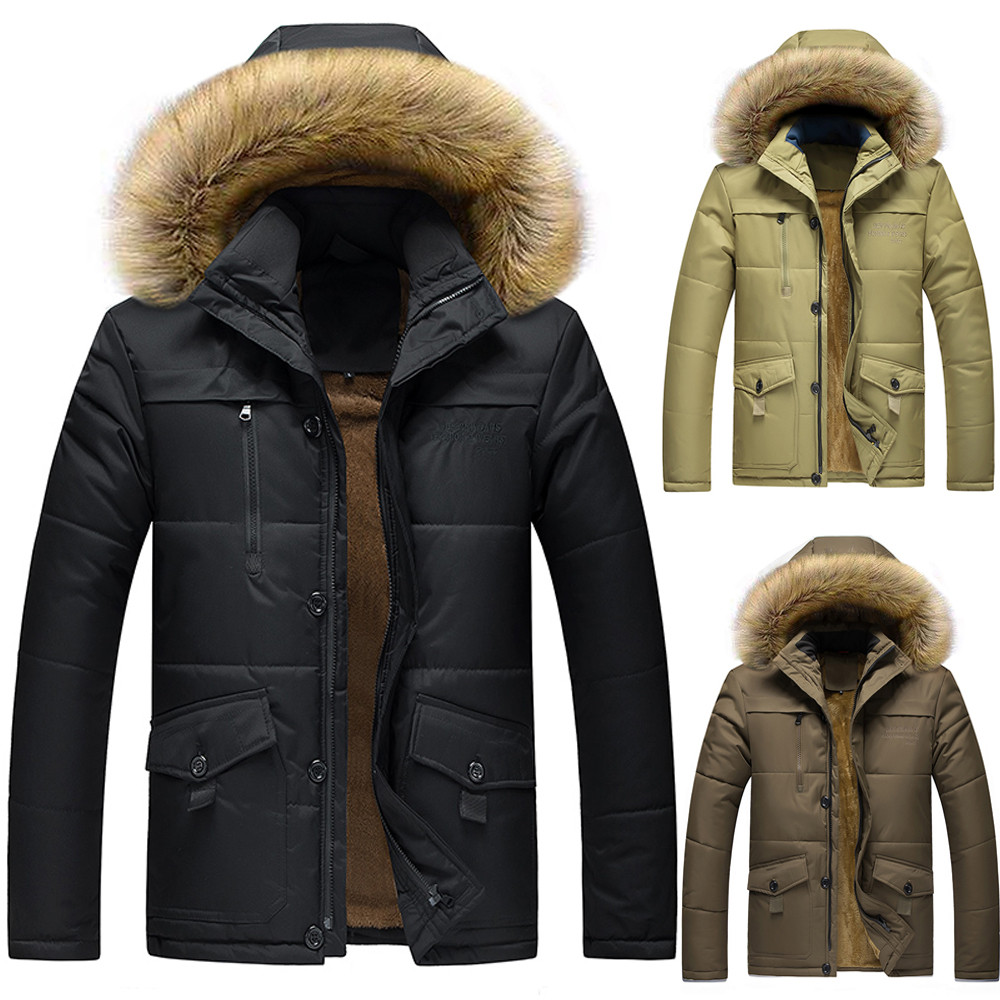 Sunfree mens clothes Casual Men's Winter Medium Length Zipper Plus Size Thickened Hooded Cotton Outwear Coat L-8L 3L45