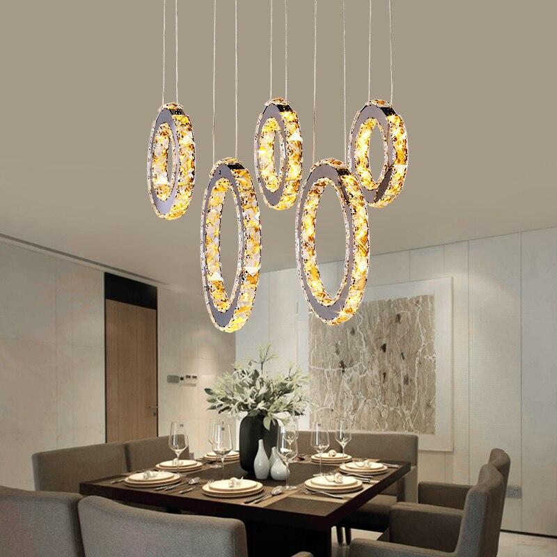 Ciondolo Di Cristallo ha condotto le luci per soggiorno Cucina sala da pranzo sospensione apparecchio Anello lustri di e pendentes para sala de jantar