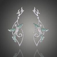 Neue auf die schöne vogel design luxus grün/blau ohrringe für frauen hochzeit/party fashion zirkon ohrringe schmuck E00998