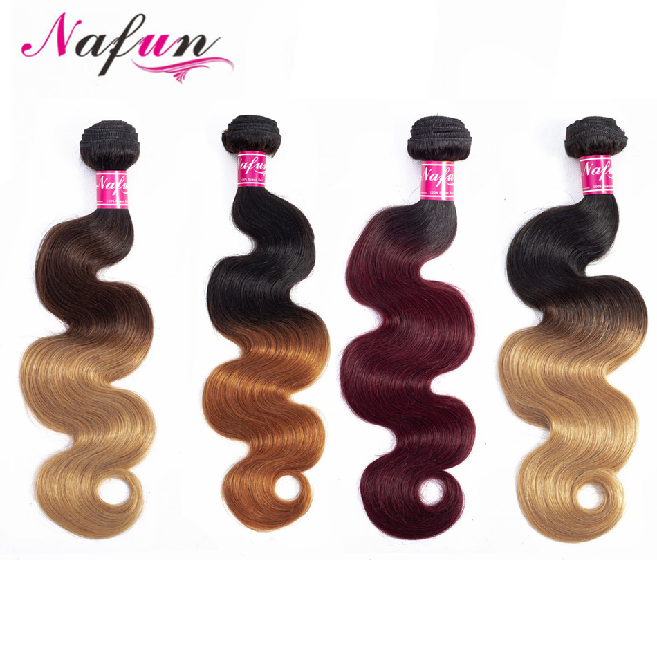 NAFUN Body Wave Ombre Hair Bundles Peruvian Hair Weave Natural Black Color 1 Piece Deal Can Buy Human Hair Bundles Non-Remy Hair