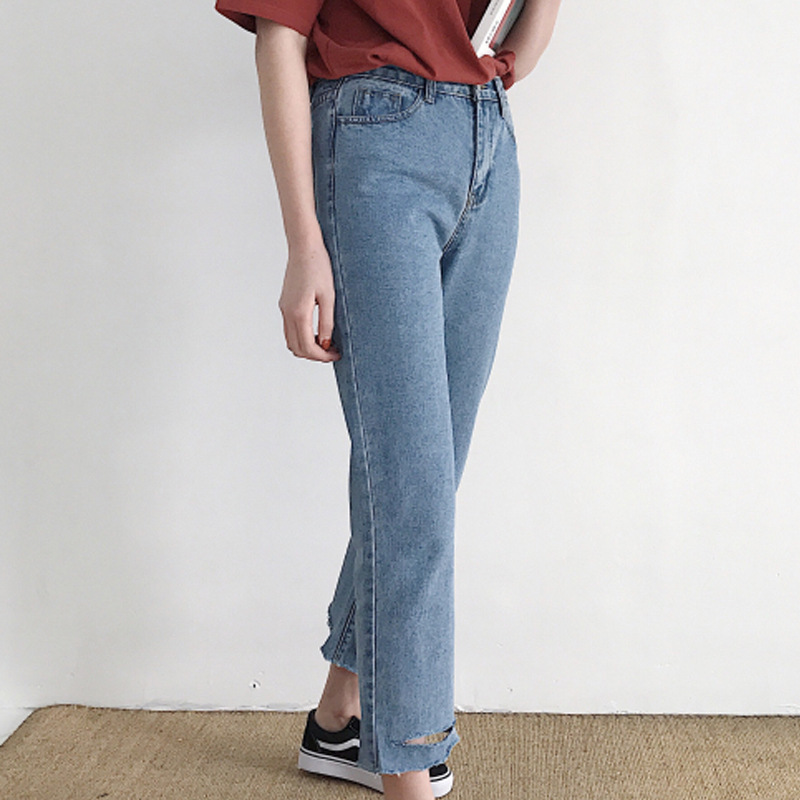 Spring Casual Holes Water Wash Jean Straight Legged Denim Pants Female 34163 women girls casual vintage wash straight leg denim overall suspender jean trousers pants dark blue
