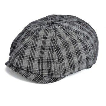 a0d072de09a7 Gorra plana negra VOBOOM para hombre, gorros de tela escocesa, gorras de  algodón, gorro de verano, ...