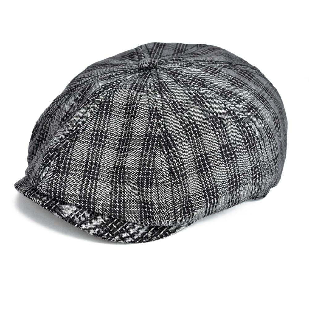 0188f342b92 Voboom black flat cap men large plaid newsboy caps cotton cabbie hat jpg  1000x1000 Plaid newsboy