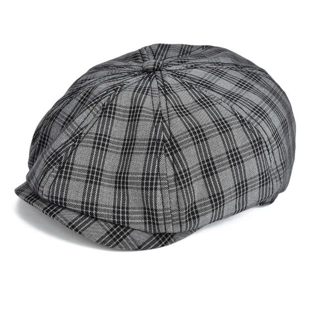 9b9fafe2b7da8 VOBOOM Black Flat Cap Men Large Plaid Newsboy Caps Cotton Cabbie Hat Summer  Breathable Glof Hats