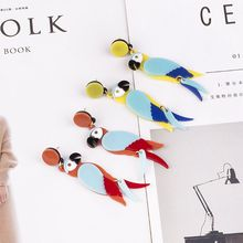 Acrylic Earrings Colorful Parrot Bird Drop Stand Out Summer Fashion Jewelry Punk Exaggerated
