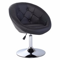 Goplus Adjustable Modern Swivel Bar Chair Round Tufted Back Accent Chair PU Leather Black Home Office