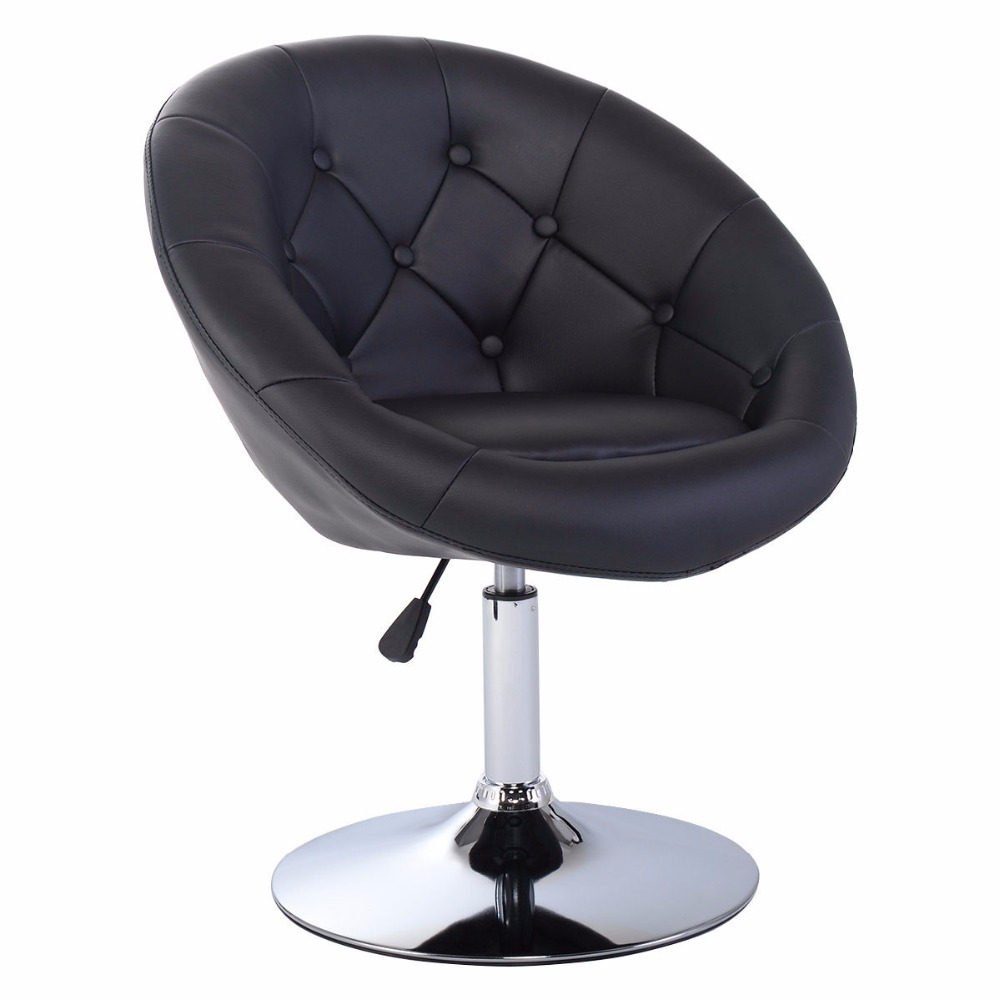 Goplus Adjustable Modern Swivel Bar Chair Round Tufted Back Accent Chair PU Leather Black Home Office Chairs HW52961