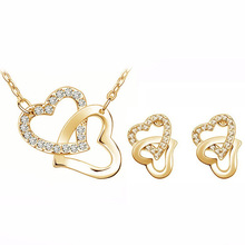 hot deal buy 2014 free shipping wholesale christmas new year gifts czech crystal double heart charm fashion jewelry sets 5 colors 40223