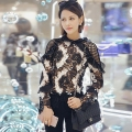 Self Portrait Ruffle Blouse Woman New Arrivla Long Sleeve Black and White Patchwork Floral Lace Top